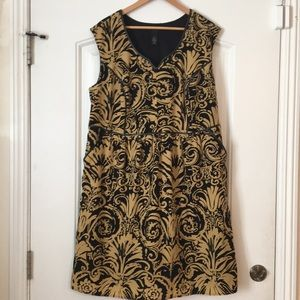 Lane Bryant gold and black patterned dress